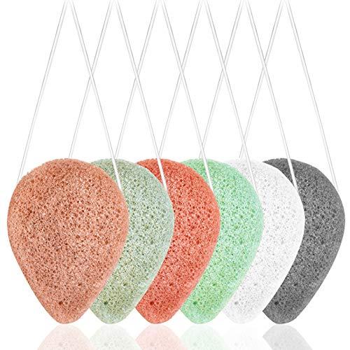 Confezione da 6 spugne per il viso Konjac naturali, SourceTon Spugne per il viso Konjac a 6 colori per una pulizia delicata ed esfoliazione del viso