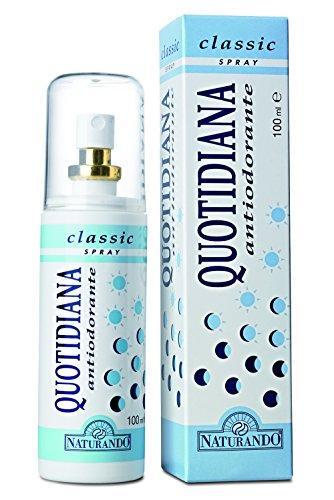 Naturando Quotina Antiodorante Classic Spray, Previene la Formazione di Cattivi Odori Ostacolando Degradazione del Sudore da Parte dei Batteri, 100 Millilitri