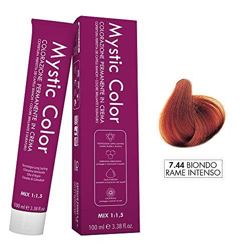 Mystic Color - Colore Biondo Rame Intenso 7.44 - Tinta per Capelli - Colorazione Professionale in Crema a Lunga Durata - Con Cheratina Idrolizzata, Olio di Argan e Calendula - 100 ml