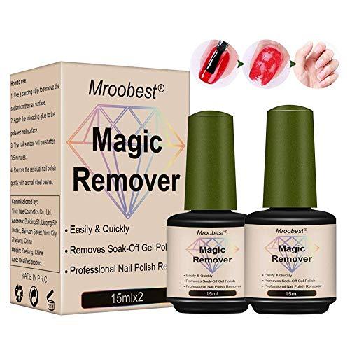 Magic Nail Polish Remover, Magic Gel Remover, Gel Polish Remover, Magic Soak Off Gel Nail Polish Remover, Rimuove lo Smalto in Gel Soak-Off in 3-5 Minuti, Facilmente e Rapidamente(2 * 15ML)