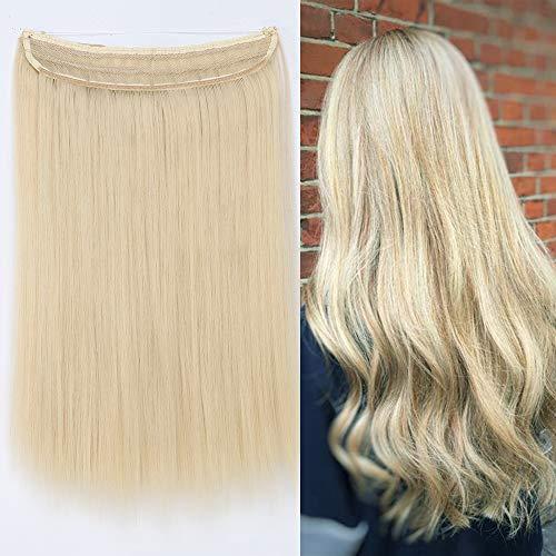 Elailite Extension Capelli con Filo Invisibile Lisci Lunghi 40cm Pesa 105g Fascia Uncia Wire in Hair Extensions Senza Clip - Biondo Chiaro