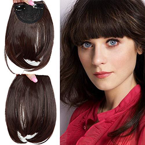 Elailite Frangetta Finta Capelli Clip Frangia Frontale Extension Fascia Unica Hair Bang Corti Lisci Posticci Fringe Invisibile Effetto Naturale Marrone Cioccolato