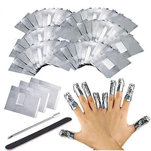 Ealicere 200PCS Remover Foil Wraps Compresse Remover, Fogli di Alluminio per Rimuovere lo Smalto, 1 spingi cuticole da manicure e 1 lima per unghie