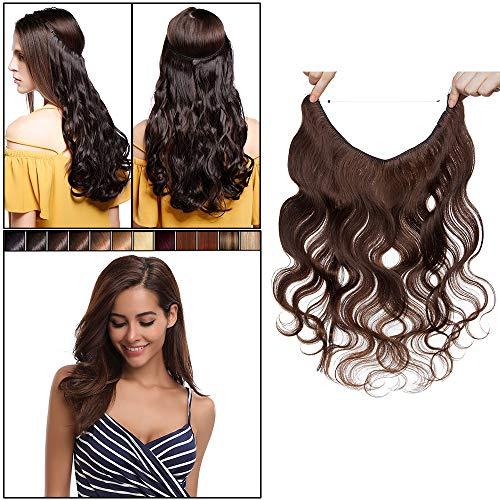 Elailite Extension Filo Invisibile Capelli Veri Umani Ricci Ondulati Remy Human Hair Fascia Unica 40cm (60g) - #4 Marrone Cioccolato