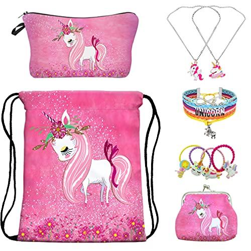 Unicorno Regali per Ragazze,RLGPBON Zaino Unicorno con Coulisse,Borsa per Make up,Unicorno Collana con catena in lega,Bracciale unicorno/Fascette per Capelli (5 PACK)