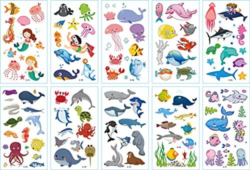 Tatuaggi Temporanei per Bambini,Tatuaggi Finti Temporanei Adesivi 10 Sheet Impermeabile Mondo Marino Tema Adesivo per Feste di Compleanno Bomboniere