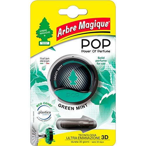 Arbre Magique POP, Profumatore Auto Solido, Fragranza Green Mint, Profumazione Decisa e Fresca, Durata Fino a 30 Giorni, Design Italiano, Confezione da 1 Pezzo