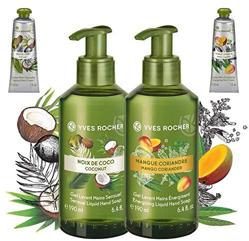 Yves Rocher Mango & Cocco - 2 Gel Energizzante per la pulizia delle mani + Crema Mani Mango e Cocco