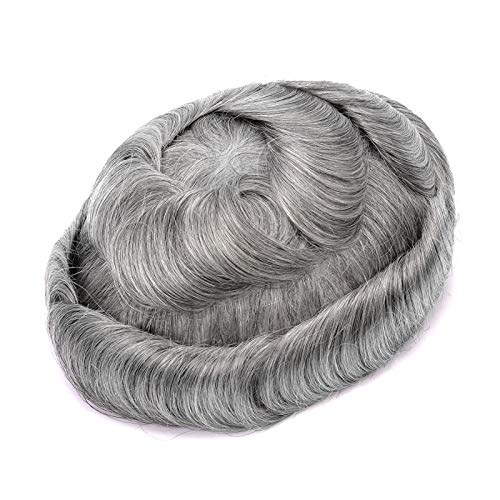 LGYKUMEG Capelli Umani Toupet per Uomo Stail Parrucchieri Parrucca da Uomo Naturalmente Mr. Parrucca Toupee di Pacchetti Umani,Grigio