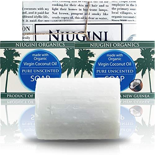 2 x La barra di sapone al cocco più pura del mondo con olio di cocco biologico per pelli sensibili, 100 g Unscented