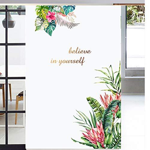Piante tropicali Foglia verde con decalcomanie adesivi murali fiore rosso, Believe in Yourself, Carta da parati foglie giungla, Decorazioni per la casa fai da te per soggiorno