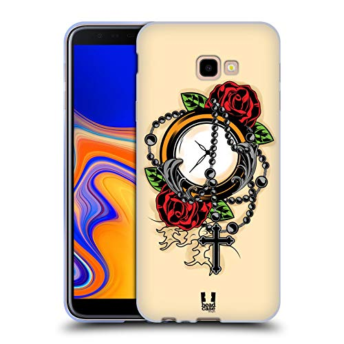 Head Case Designs Rosario Tatuaggi Old School Cover in Morbido Gel e Sfondo di Design Abbinato Compatibile con Samsung Galaxy J4+ / Plus