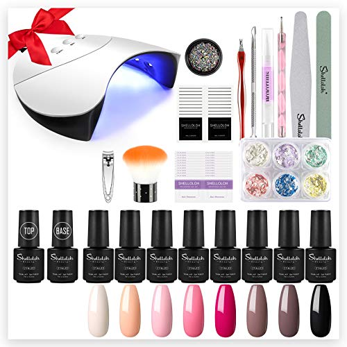 Kit Semipermanente Unghie Gel Completo di Shelloloh - 8pz Smalti per Unghie in Soak off Gel con 36W Lampada LED+UV per Nail Art Gel Set per Manicure Professionale