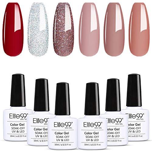 Elite99 Smalto Semipermanente per Unghie,6PCS Bacca Gel Colori Splendente Set per Manicure in Gel UV LED,Smalti in gel per unghie Soak Off UV Manicure 10ML - C013
