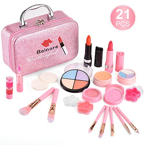balnore Trucchi Bambina Set 21 Pezzi Lavabile Makeup Set di Cosmetici per Bambini Trucco Ragazza Giocattolo