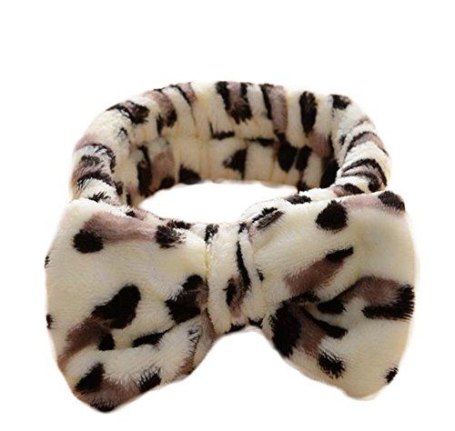Spaufu - Fascia elastica per capelli, motivo leopardato, con fiocco