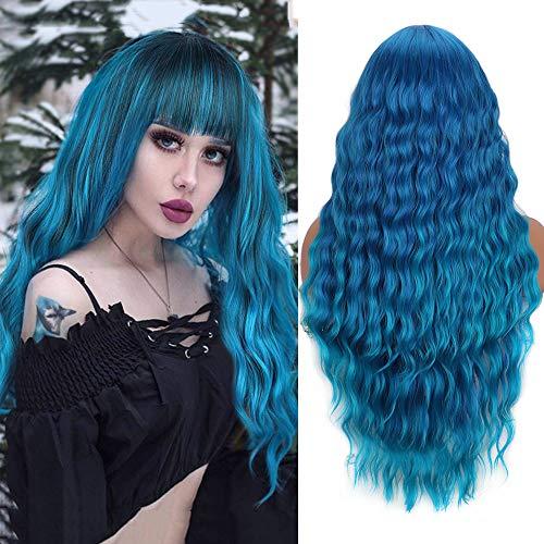 YEESHEDO Parrucca Ombre Blu Lungo per Donna, Ricci Capelli Parrucche con Frangia, Naturale Ondulata Sintetici Capelli Blue Wig per Uso Quotidiane Cosplay Halloween 28' (Blu)