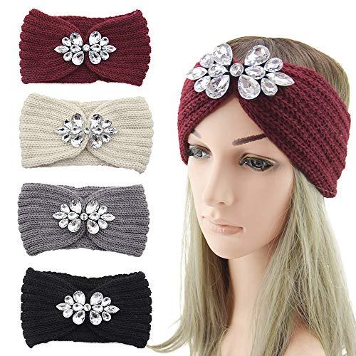 AODOOR 4 fasce per capelli da donna lavorata a maglia con strass, per l'inverno, per l'uncinetto, fascia per le orecchie, fascia elastica (beige, grigio, rosso, nero)