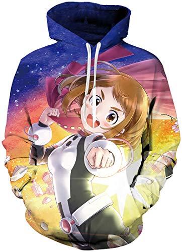 FLYCHEN Uomo Felpa con Cappuccio 3D Stampato Poster Anime Cosplay Personaggio a Maniche Lunghe - Ragazza 2 - S