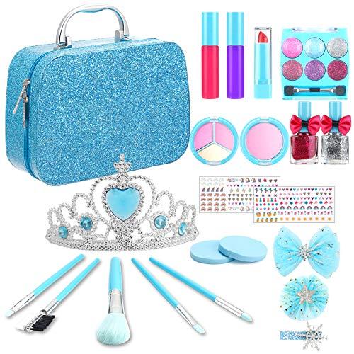 TwobeFit Trucchi Bambina Set, 21 Pezzi Lavabile Makeup Set di Cosmetici perdi Cosmetici per Bambini Trucco Ragazza Giocattolo con Blu Borsa Cosmetica Portatile