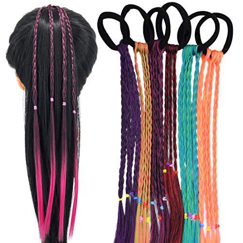 Parrucche colorate per coda di cavallo - YUESEN 6 Pcs Extension Capelli per Bambine, Fascia per capelli intrecciata per estensioni dei capelli per bambini, ragazze con colori sfumati con fascia elasti