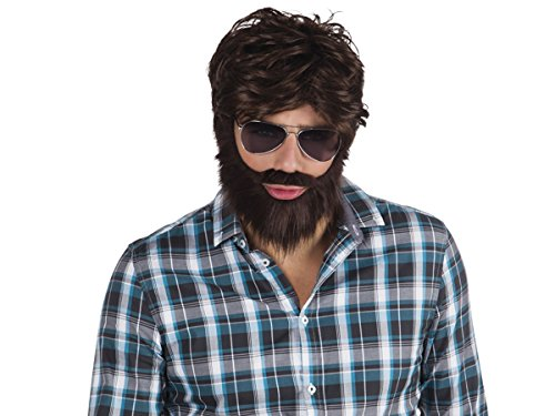 Boland Parrucca Marrone | con Barba | Taglia Unica | Adulti | Travestimento | Costume | Halloween | Carnevale | Festa Serata a Tema