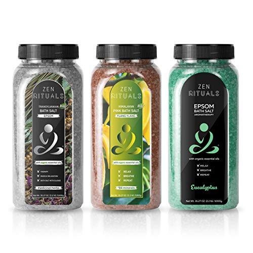 Zen Rituals - Set di sale da bagno per il relax con oli essenziali biologici Pacchetto aromaterapia Confezione (erbe medicinali Epsom, Himalayn Ylang Ylang ed eucalipto marino) Totale 3 KG