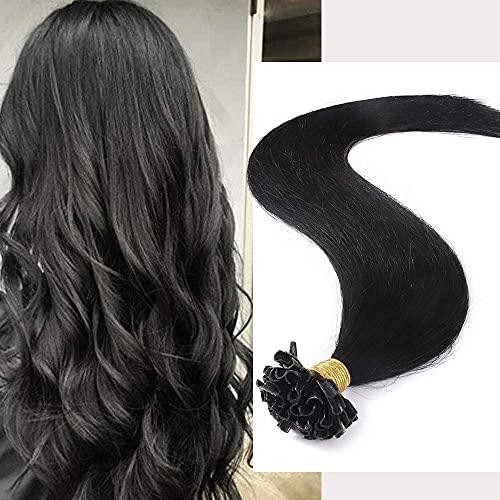 Extension Capelli Veri Cheratina Neri 200 Ciocche 100g U Tip Pre Bonded Keratina Remy Human Hair 40cm 1 Jet Nero Lisci Naturali Umani Lunghi Testa Piena