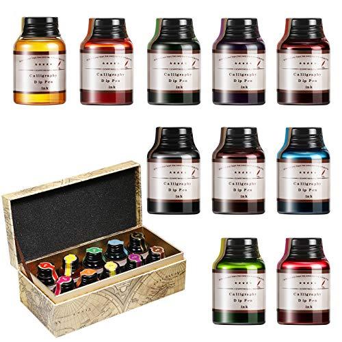 GC QUILL Set Inchiostri per Penna Stilografica 10 Bottiglie di Inchiostri Colorati per Penna Calligrafica Art Craft Penna a Immersione Accessorio per Calligrafia