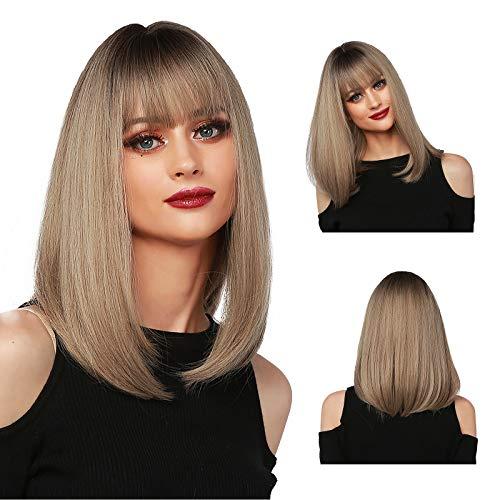 MISHAIR Parrucche donna con frangia Parrucche Biondo Caschetto Corte di Media Lunghezza Parrucca Wigs Ragazze Capelli lisci biondo 14 pollici