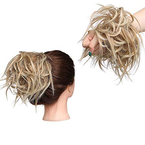 Estensioni dei capelli arruffati Moda Hairpiece Scrunchie Dritto elastico updo Scrunchy Bun Brown Blonde Parrucca coda di cavallo Hairdo Biondo sabbia a biondo candeggina