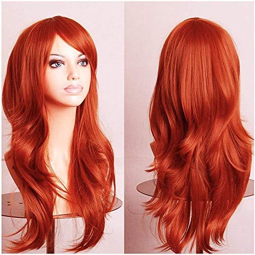 Elailite 58cm Parrucca Arancione Donna Lunga Colorata Fashion Orange Wig Capelli Lunghi Ondulati Wavy Parrucche Sintetiche per Festa Carnevale Party Cosplay Vari Colori