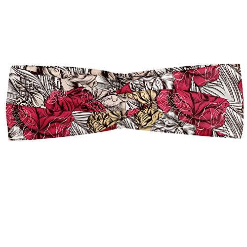 ABAKUHAUS Floreale Fascia per Capelli, Roses Primo Piano ad Alta Dettagliate, Elastico e Morbido per Lo Sport e l'Uso Quotidiano per Donna, Rosa Multicolor