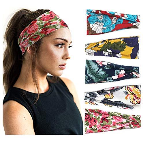 Confezione da 5 donne Fascia per capelli Boho Stile floreale Avvolgere la testa larga Bandana elastica Criss Wrap Accessori per capelli turbante Yoga …