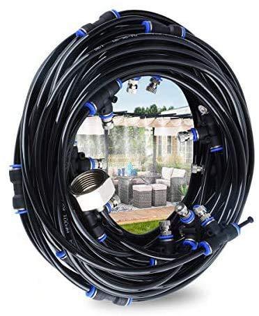 Hydrogarden Kit di Nebulizzatore da Giardino Esterno Terrazzo, Sistema Irrigazione Giardino,di Raffreddamento ad Acqua Regolabile per Ombrellone Gazebo Refrigerio Serra, Piscinaecc (18M)