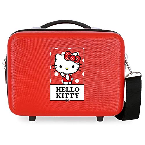 Hello Kitty Bow of Borsa da toilette in ABS adattabile, 29x21x15 cms, Rojo