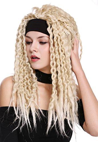 WIG ME UP - 90837-ZA89/Za88 Parrucca Carnevale Halloween Fascetta Fronte Dreads Dreadlocks Rasta Caraibi Afro Mix Biondo