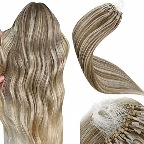 LaaVoo Microring Extension Capelli Veri Remy Micro Anelli Extension Capelli Marrone Chiaro Highlighted Bionda Leggera #P8/24 Pre Bonded Microring Human Hair Extensions 50Grammi 1g/s 14 Pollici/35cm
