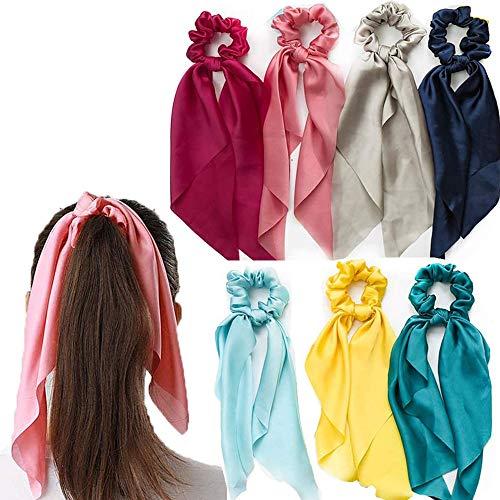 Schneespitze 7Pcs Elastici per capelli Accessori per Capelli Fascette per Capelli Elastiche Fiocco di annodato a Fascia Elastica Cerchietto Corda per donne e ragazze