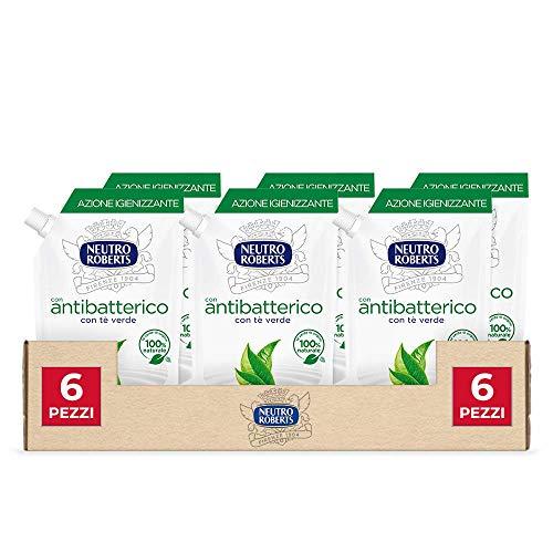Neutro Roberts, Sapone Liquido Ecopouch Antibatterico, Ecoricarica, Pelle Sana e Protetta, Té Verde - 6 Confezioni da 400 ml