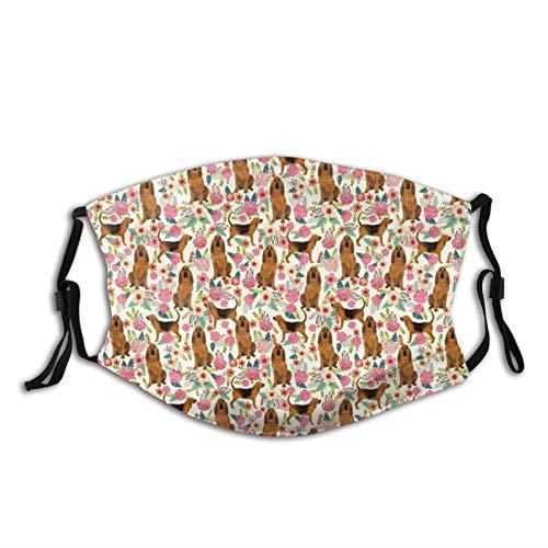 Meixiao, protezione per il viso, alla moda, per cani e fiori, color crema e antipolvere, protezione per la bocca, riutilizzabile, calda antivento per attività all'aperto con filtro