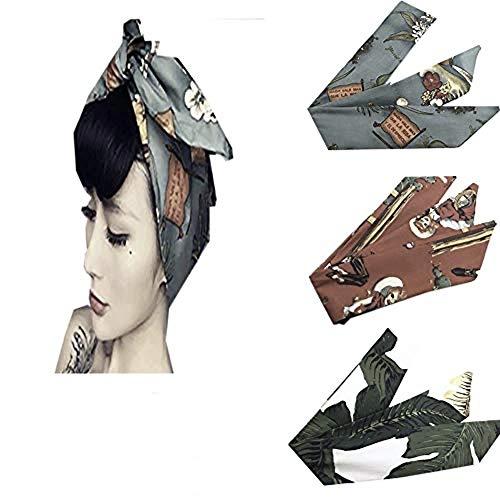 ivyacen Fascia per capelli vintage da donna 3 pezzi in cotone con motivo floreale stampato a turbante