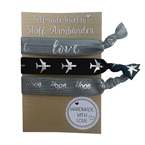 SelfmadeJewelry, Set da donna composto da bracciali / elastici in tessuto, realizzati a mano, colore: grigio/nero/argento