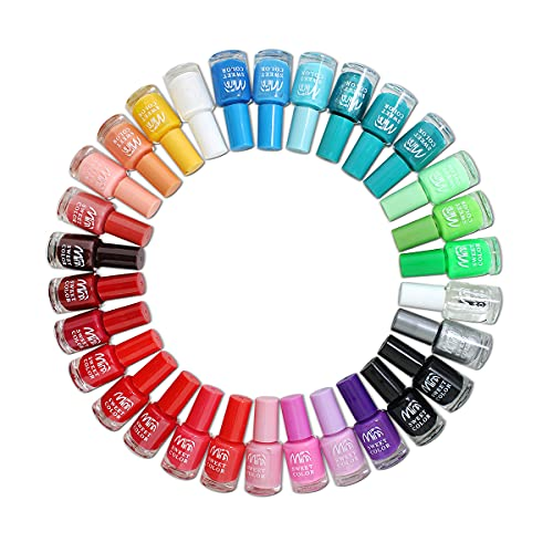 Set Completo per unghie artificiali, 24 Smalti in diversi colori vivaci per una perfetta nail art. Autentiche bottiglie di vetro (7 ml)