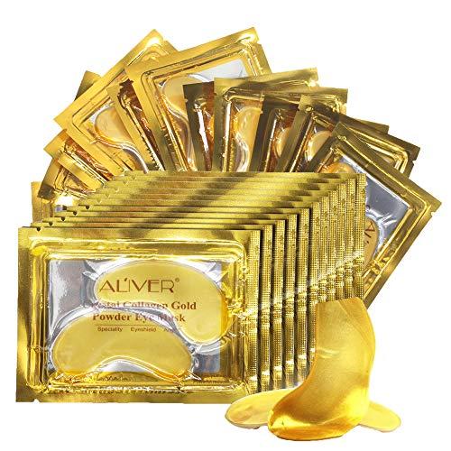 Maschera per la cura degli occhi, con collagene d'oro 24 carati, trattamento anti invecchiamento, maschera per occhi gonfi, cerotti per occhiaie, cerotti per occhiaie, antirughe