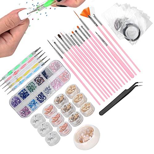 Set per nail art fai da te, strumento per manicure Decorazione per unghie Forniture per decorazioni per unghie Kit di decorazione per nail art per salone di nail art per uso domestico