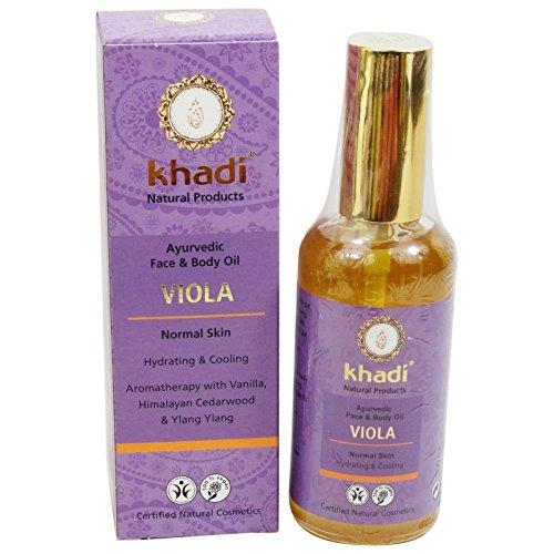 Khadi Olio Viola Viso e Corpo Rigenerante Idratante Tonificante Tutti i Tipi di Pelle 100 ml