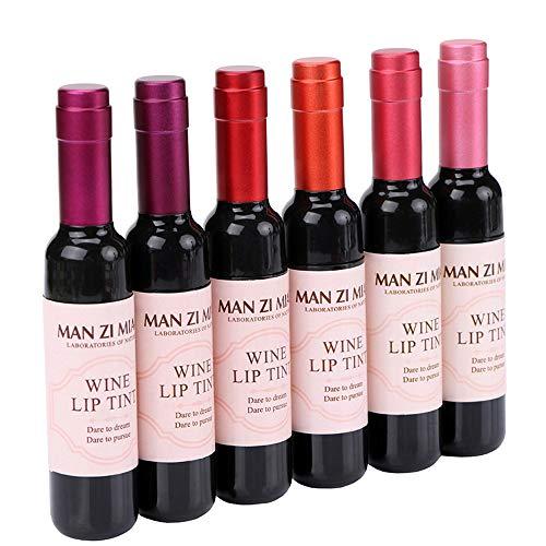 6 Colors Wine Bottle Shape Matte Lip Tint Waterproof Long Lasting Lipstick Lip Gloss