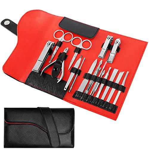 NAVANINO 16 Pcs Pedicure Manicure Set Tagliaunghie Set,Professionale Manicure & Pedicure Set in Acciaio Inox Forbici per Unghie di Viaggio e Toelettatura Kit Manicure Set
