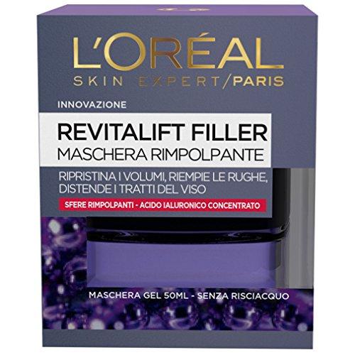 L'Oréal Paris Trattamenti Revitalift Filler Maschera Viso Antirughe Rimpolpante Notte con Acido Ialuronico Concentrato, 50 ml